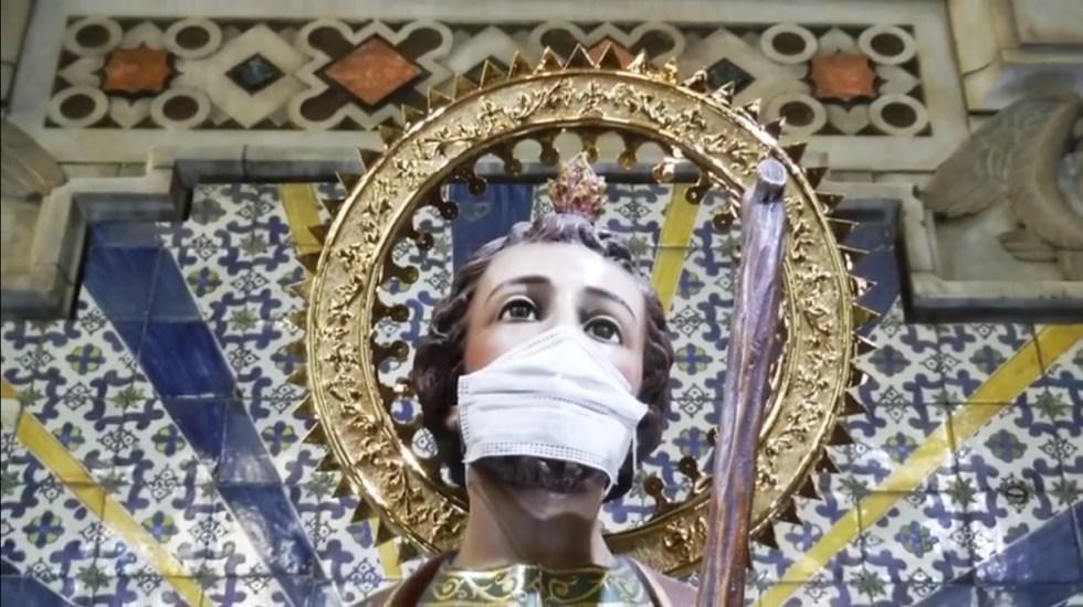 Celebración a San Judas Tadeo en CDMX será virtual - Imagen de san Judas Tadeo con cubrebocas en Templo de San Hipólito. Captura de pantalla
