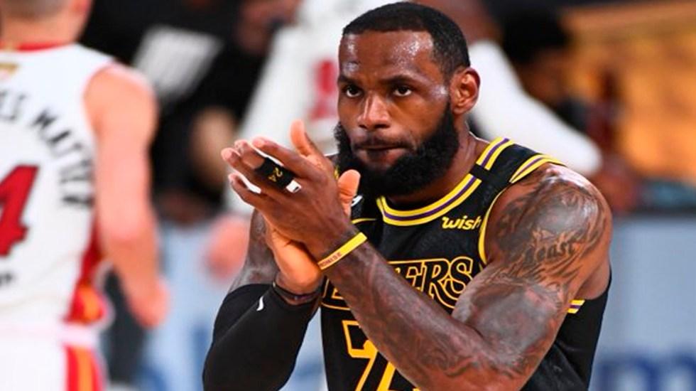 Lideran James y Davis triunfo de Los Angeles Lakers; aventaja 2-0 a Heat de Miami en Finales de NBA - LeBron James Foto Twitter @NBA