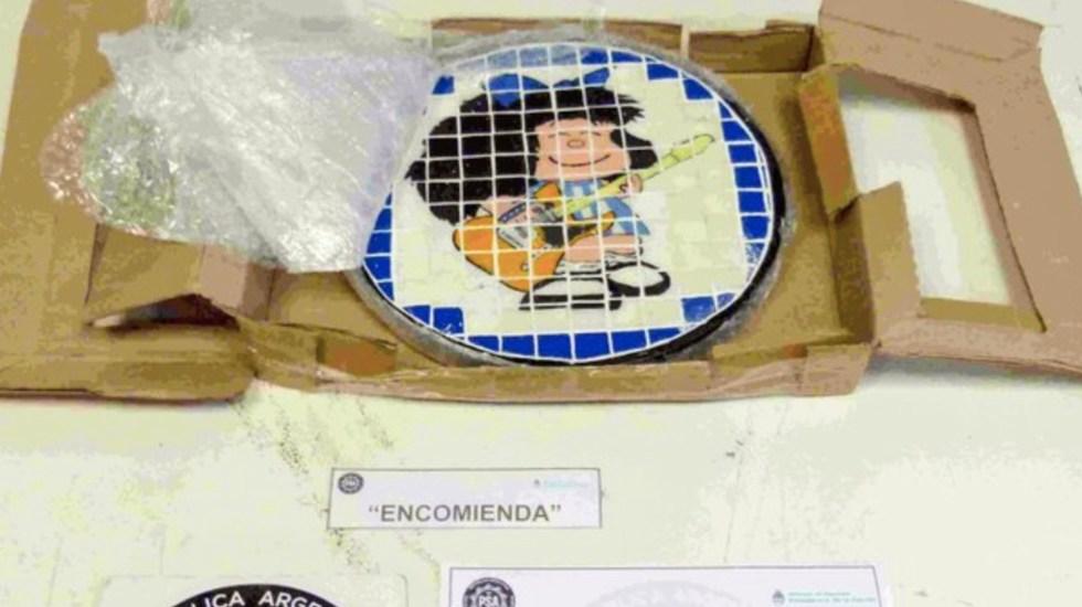 #Video Detienen a banda que traficaba cocaína en imagen de Mafalda en Argentina - Foto de PSA