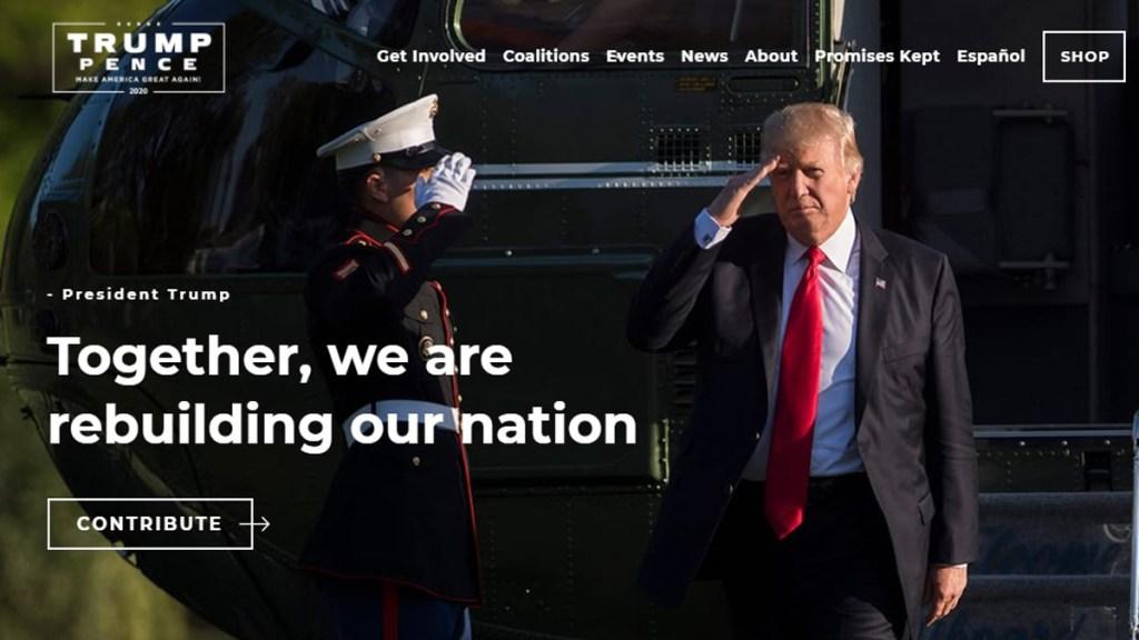 Hackean página web de campaña de Donald Trump para pedir criptomonedas - Página de campaña presidencial de Donald Trump. Captura de pantalla