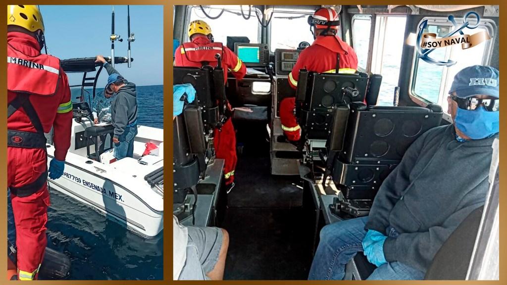 Marina rescata a tres pescadores de embarcación varada en costas de Ensenada, Baja California - La Semar puso a salvo a tres pescadores en Ensenada, Baja California.  Foto Twitter @SEMAR_mx