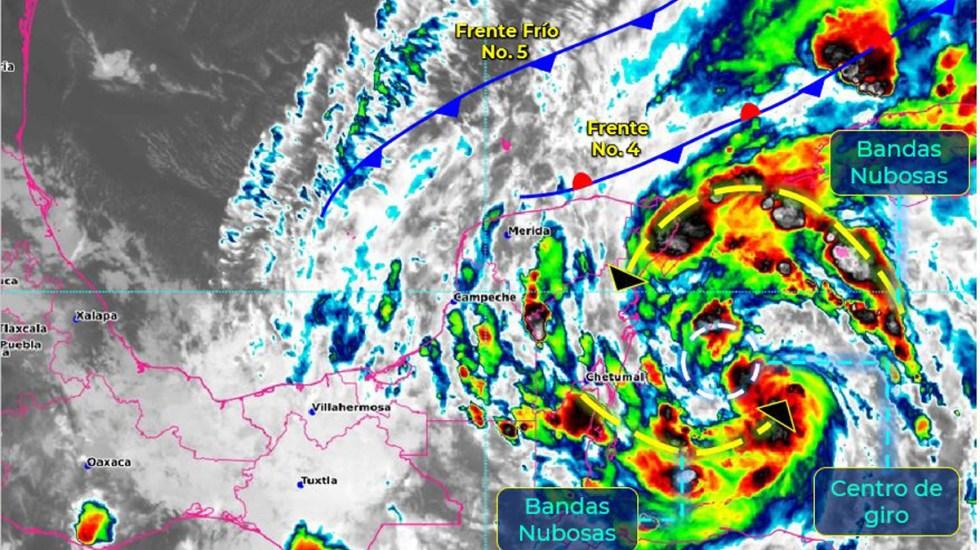 Se intensifica 'Gamma' a tormenta tropical; ocasionará lluvias torrenciales en el sureste de México - Tormenta tropical Gamma. Foto de SMN
