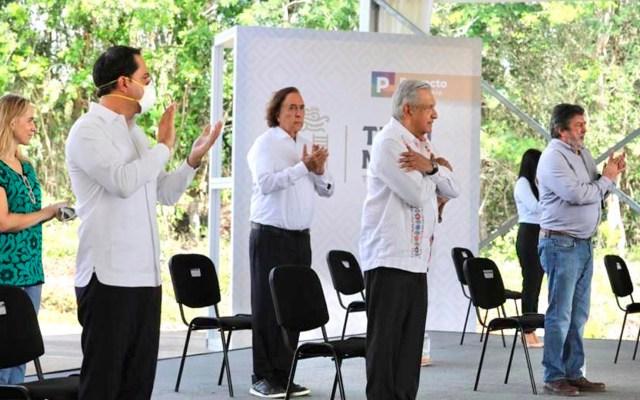 Tren Maya impulsará desarrollo del sureste y atraerá turismo, asegura López Obrador - El presidente  Andrés Manuel López Obrador visitó Tinum, Yucatán, para supervisar las obras del tramo 4 del Tren Maya. Foto Twitter @TrenMayaMX