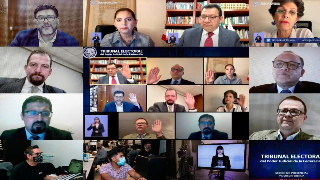 Tribunal Electoral aplaza sesión para frenar encuesta de Morena - Sesiones en vivo del TEPJF. Foto Twitter @TEPJF_informa