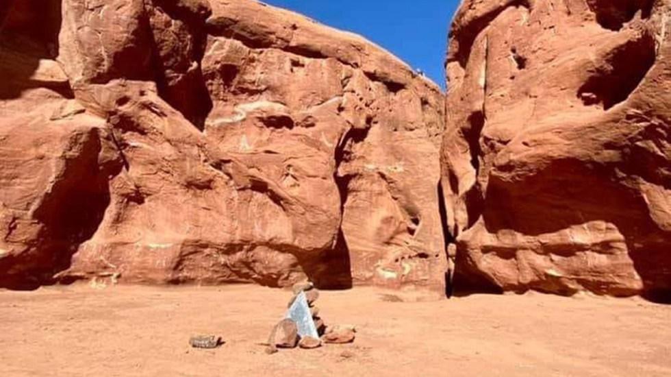 Desaparece monolito metálico del desierto de Utah - Área del desierto de Utah en la que estaba el monolito metálico. Foto de @IFOS9000