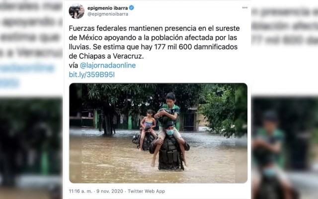 Se burlan de Epigmenio Ibarra en Twitter por usar foto del Ejército de Guatemala en publicación sobre lluvias en México - Epigmenio Ibarra error Twitter 2