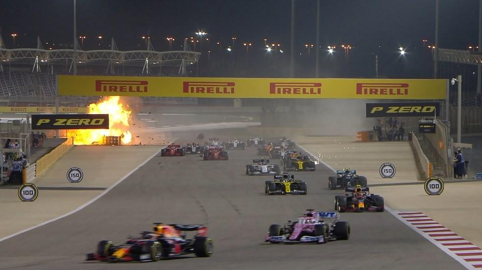 #Video Se incendia auto en GP de Baréin; piloto logra escapar - Incendio del monoplaza del francés Grosjean. Foto de @F1