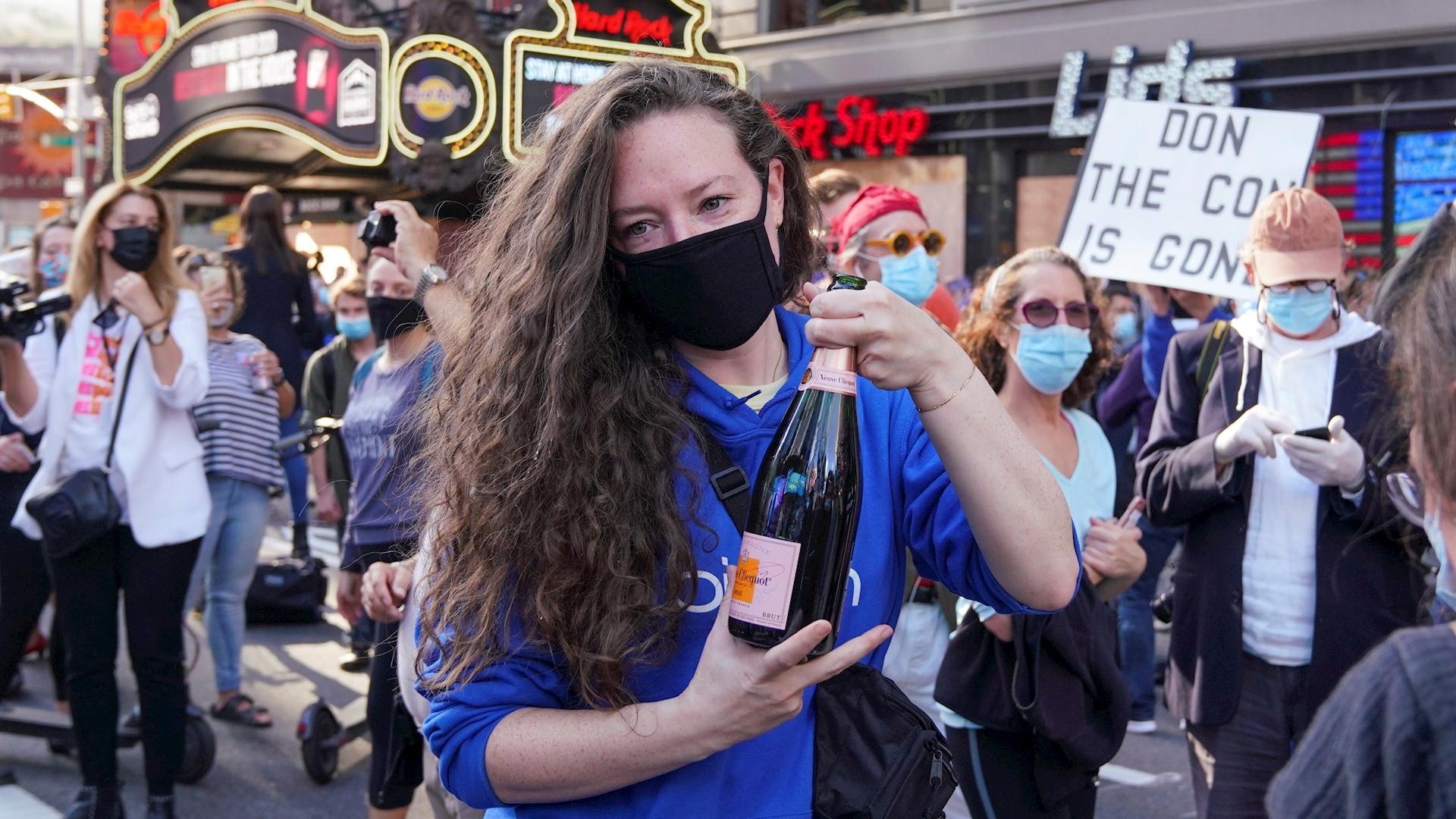Joe Biden celebración Nueva York triunfo