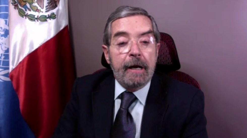 México plantea ante ONU coordinación para recuperación socioeconómica integral tras pandemia - Juan Ramón de la Fuente. Captura de pantalla