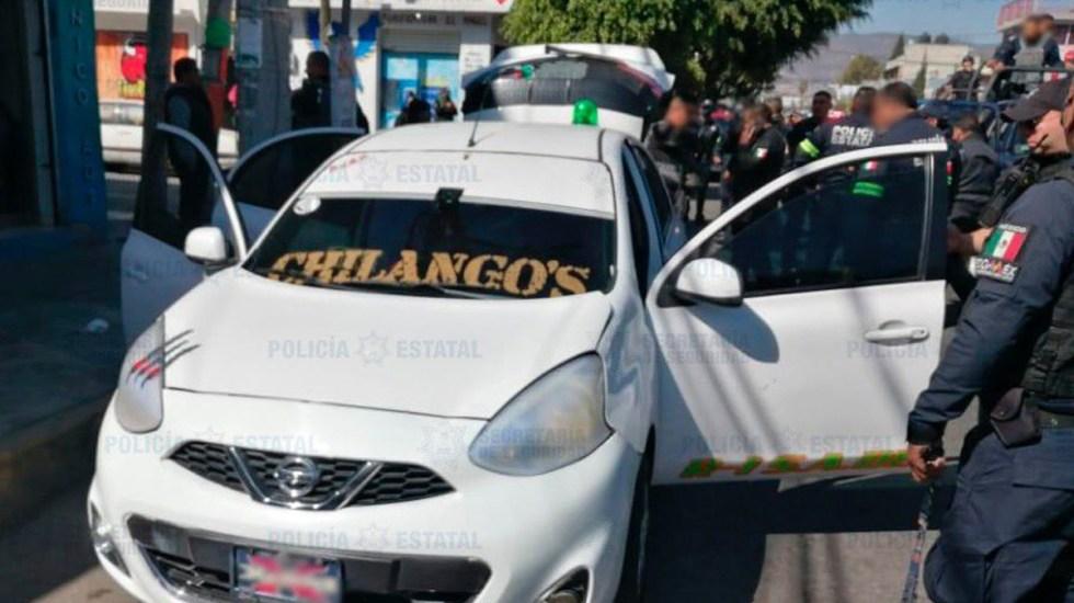 Enfrentamiento entre policías y taxistas en Ecatepec deja un muerto y cuatro detenidos - Unidad implicada en enfrentamiento de taxistas con policías de Ecatepec. Foto de @SS_Edomex
