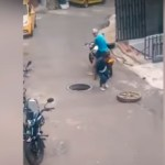 #Video Ladrón intenta robar tapa de alcantarilla y casi muere
