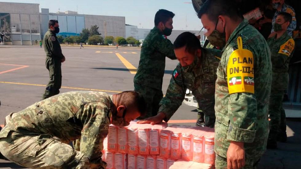 Sedena trasladó 50 toneladas de víveres para damnificados de Tabasco y Chiapas - Foto Twitter @SEDENAmx