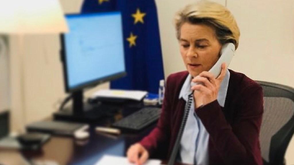 """Unión Europea ve """"cerca"""" acuerdo con Reino Unido sobre relación posBrexit - La presidenta de la Comisión Europea (UE), Ursula von der Leyen. Foto Twitter @vonderleyen"""