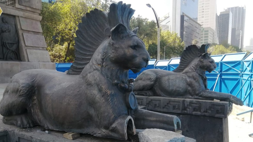 Cortan patas a pumas de monumento a Cuauhtémoc en CDMX - Patas cortadas a puma del monumento a Cuauhtémoc. Foto de SSC-CDMX