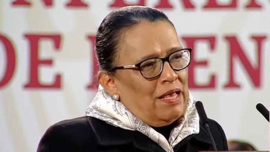 Asegura Rosa Icela Rodríguez que contribuirá a la pacificación de México desde la SSPC - Rosa Icela Rodríguez en conferencia matutina de AMLO. Captura de pantalla