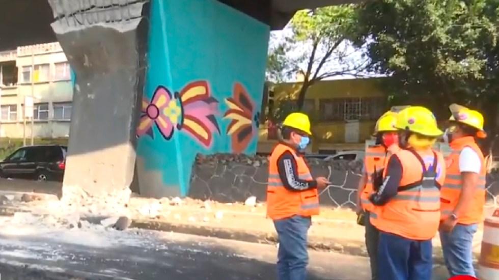 Se desgaja estructura de concreto de la línea 4 del Metro Consulado; no hubo lesionados - Se desgaja estructura de concreto de la línea 4 del Metro; no hubo lesionados. Foto Captura de pantalla