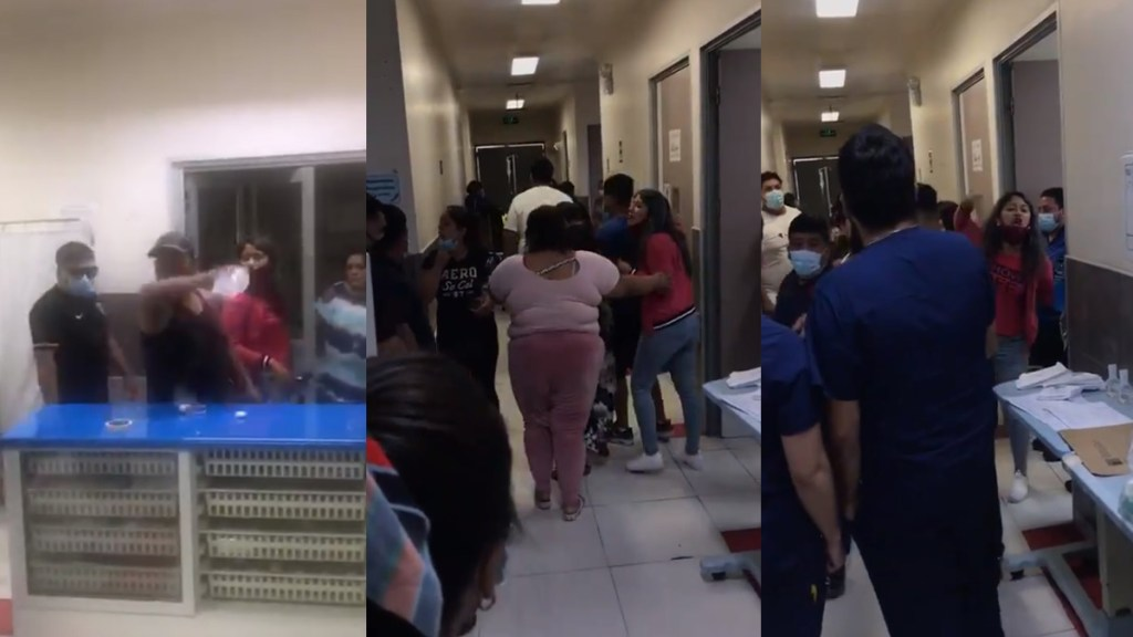 #Video Familiares agreden a médicos para sacar cuerpo de víctima de COVID-19 - Agresión en Hospital El Pino en Chile. Captura de pantalla