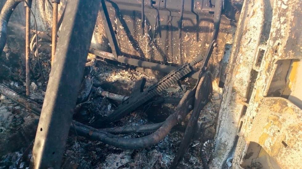 """Pide embajador de Guatemala en México """"reparación, justicia y castigo"""" tras masacre en Camargo, Tamaulipas - Restos de camioneta calcinada con migrantes dentro, en Camargo, Tamaulipas. Foto de EFE"""