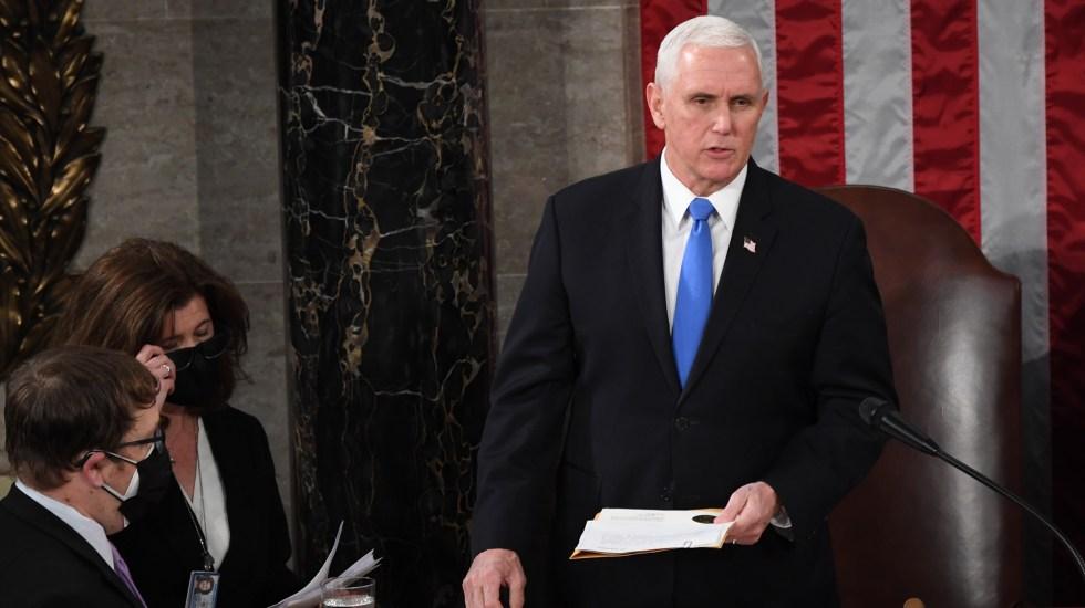 Mike Pence rompe con Trump; asegura que no tiene el poder de revocar la victoria de Biden - Mike Pence en sesión del Congreso de EE.UU. para ratificar victoria de Biden. Foto de EFE
