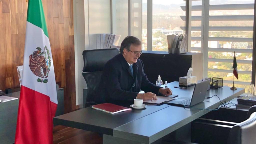 México incentiva cooperación regional en CELAC para acceso equitativo a vacunas - Marcelo Ebrard durante reunión de CELAC. Foto de SRE