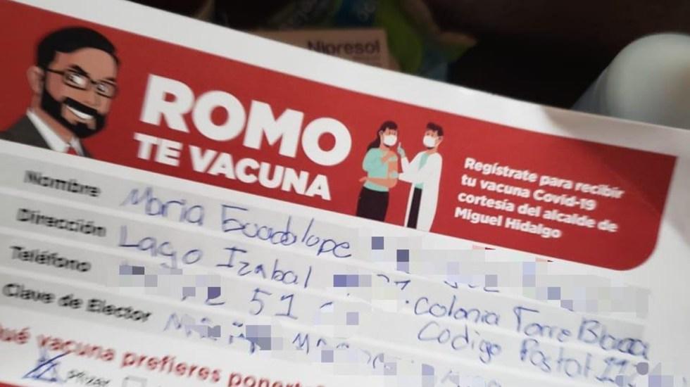 Congreso capitalino pide a alcalde Víctor Romo detener lucro político electoral de vacunación contra COVID-19 - Presunta boleta de vacunación contra COVID-19 promovida por Víctor Hugo Romo. Foto de @_EsmeRamirez_