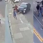 #Video Ciclista roba celular a joven; novio lo atropella y persigue para golpearlo