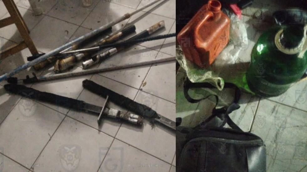 Aseguran en Polanco bombas molotov, petardos y armas blancas previo a marchas por el 8M - Hallazgo armas y bombas Polanco 8M