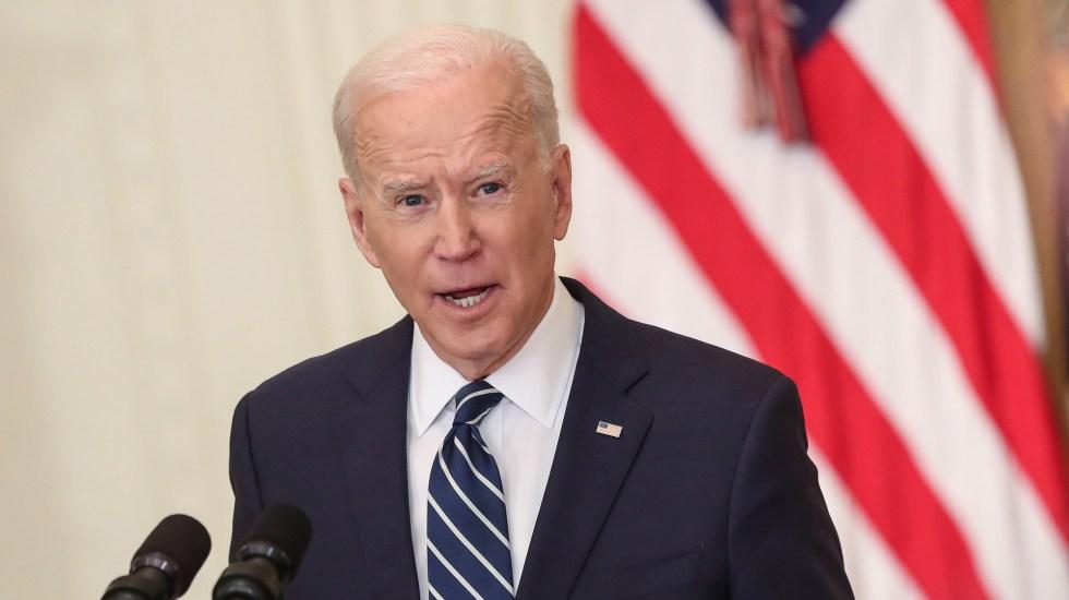 Biden da prioridad a clima, salud y educación en presupuesto de 1.5 bdd - Joe Biden en primera conferencia de prensa como presidente. Foto de EFE