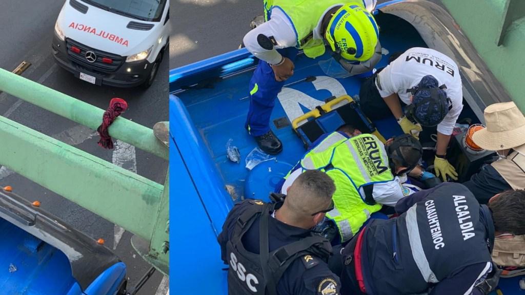 #Video Mujer intenta colgarse de poste de Trolebús en la Cuauhtémoc; policías la rescatan - Policías rescate mujer suicidio