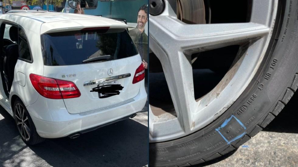 'Navajazos' al automóvil para robar; alertan por nuevo modus operandi de la delincuencia en CDMX - Foto de @omaercin