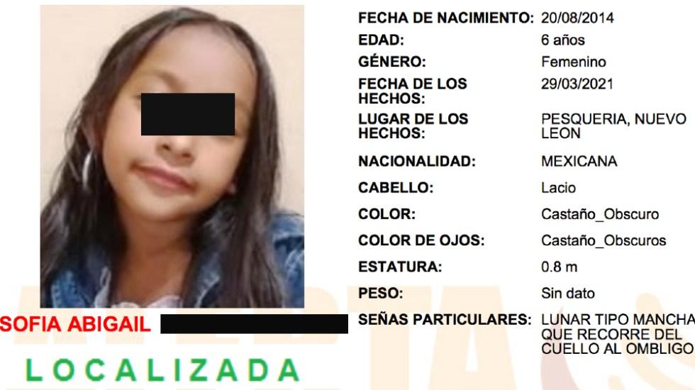 Localizan con vida a la niña Sofía Abigail en Nuevo León - Sofia Abigail