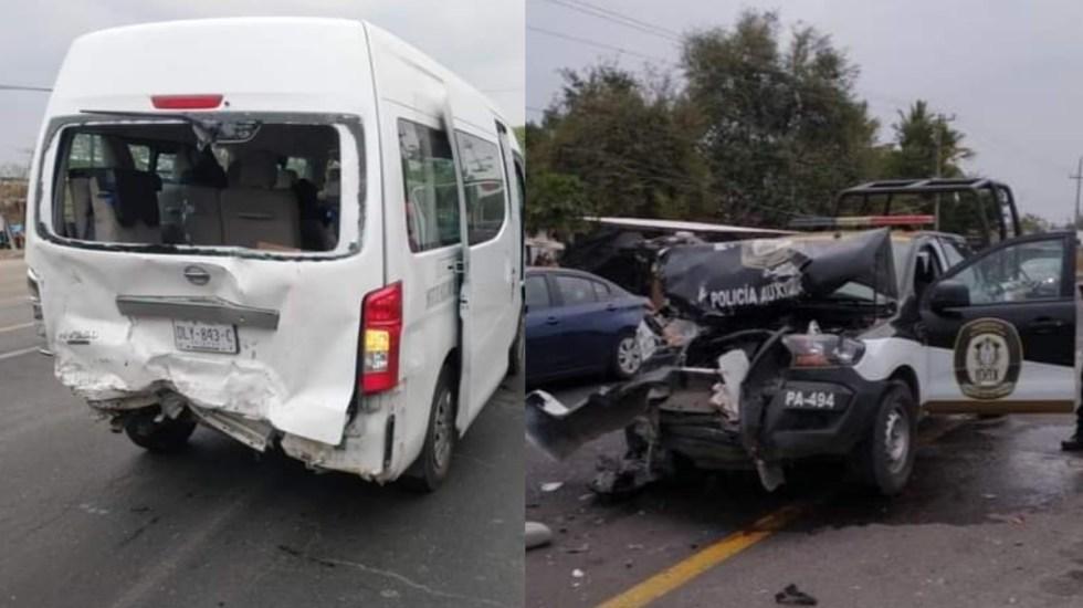 Patrulla impacta en Veracruz a camioneta con personal del IMSS; hay cuatro lesionados - Accidente Patrulla camioneta IMSS Veracruz Puente Nacional 2