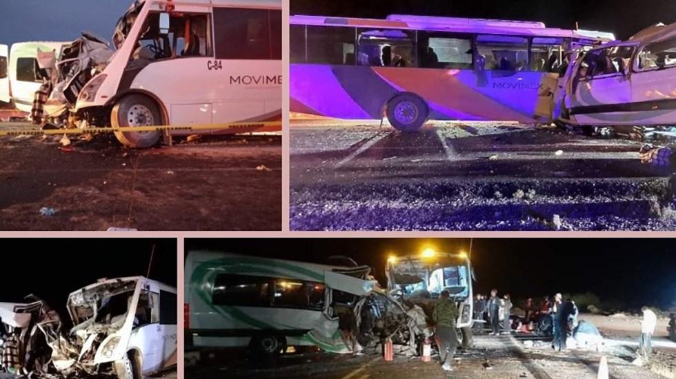 Choque de camión de personal contra camioneta en Sonora deja al menos 16 muertos - Choque sobre la carretera Caborca-Sonoyta. Foto de  @lpollopoliciaco
