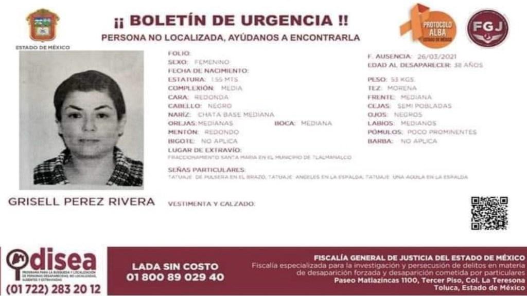 Exigen a autoridades agilizar búsqueda de defensora de DD.HH. - Amnistía Internacional exigió la búsqueda de la activista Grisell Pérez Rivera. Foto de Fiscalía EdoMex
