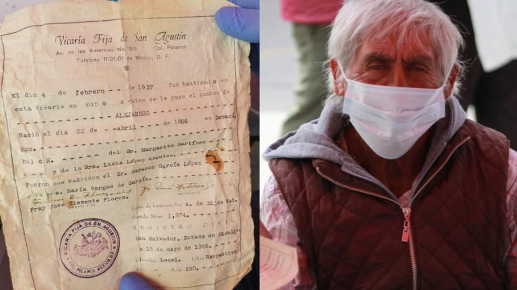 Anciano presenta fe de bautismo para recibir la vacuna contra COVID-19 - Hombre presenta acta bautismo vacunación COVID-19