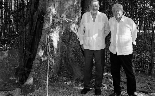 AMLO y Slim se reúnen en Palenque para evaluar avance del Tren Maya - Andrés Manuel López Obrador se reunió con Carlos Slim. Foto de Twitter @lopezobrador_