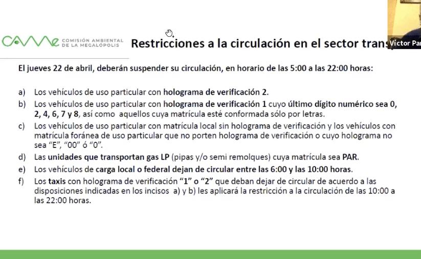 Restricciones a la circulación por el Doble no circula. Gráfico de CAMe