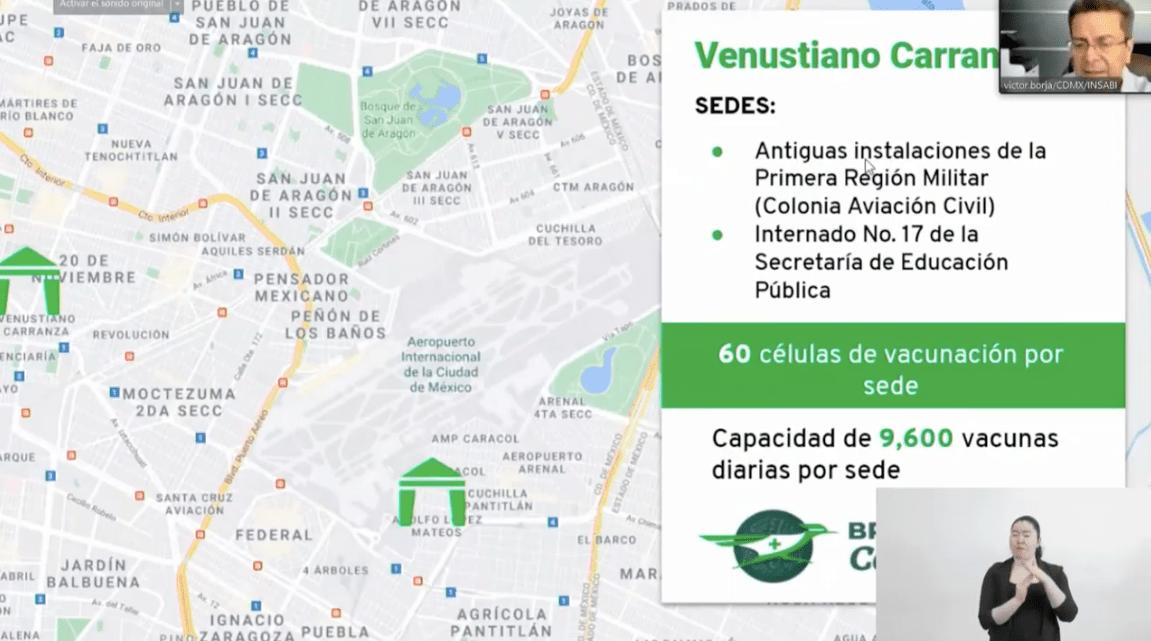 Sedes de vacunación Venustiano Carranza. Foto tomada de video