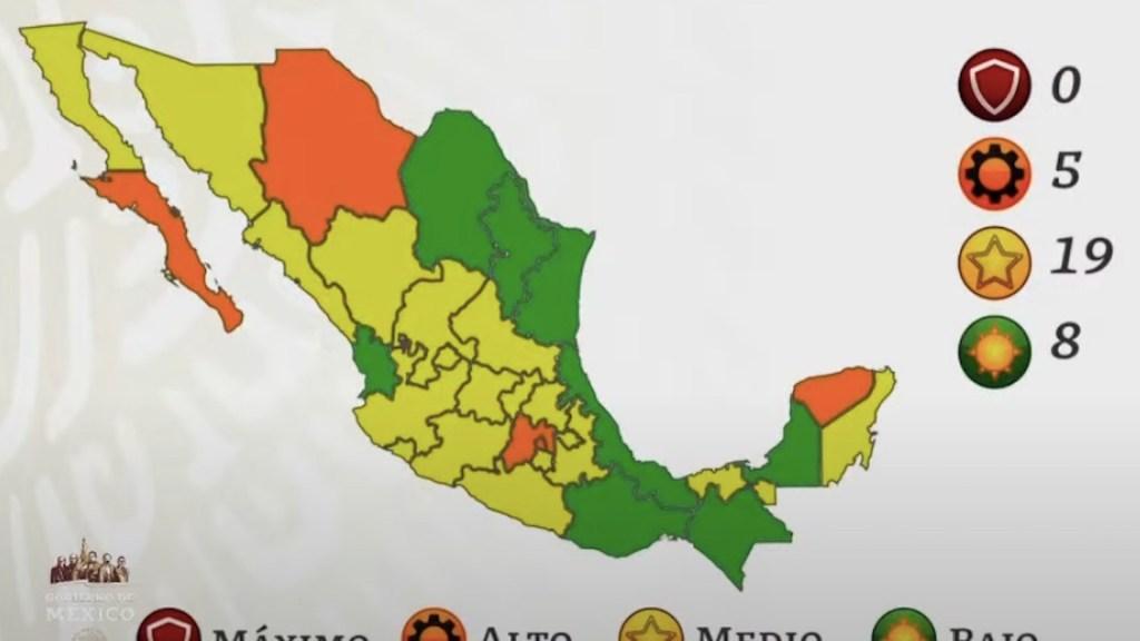 Aumenta a 8 el número de estados en Semáforo Verde por COVID-19; la mayoría de entidades se mantienen en Amarillo - Semáforo epidemiológico. Gráfico de Secretaría de Salud