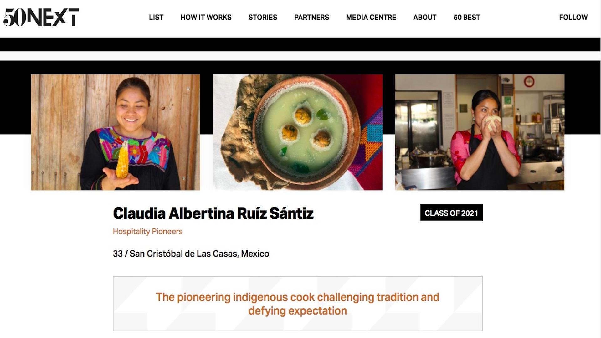 La lista '50 Next', que distingue a talentos menores de 35 años que contribuyen al futuro de la gastronomía mundial. Captura de pantalla