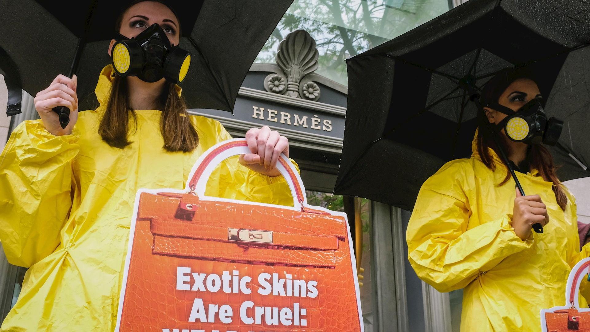 Hermes PETA protesta Nueva York 2