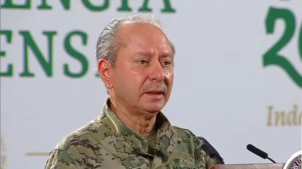 """""""Parece ser que el enemigo lo tenemos en el Poder Judicial"""", denuncia el secretario de Marina - Secretario de Marina en conferencia matutina. Captura de pantalla"""