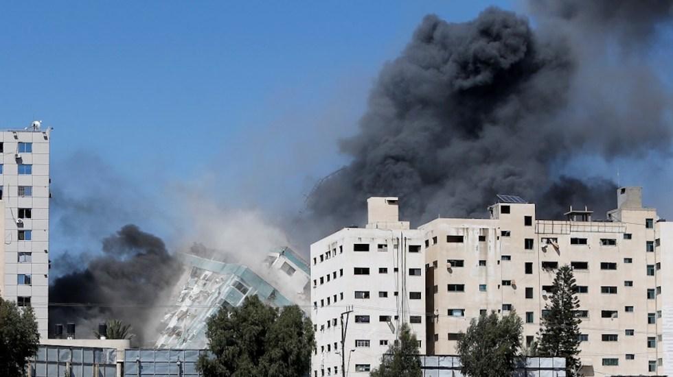 Israel bombardea otra torre en Gaza, sede de la agencia AP y de Al Jazeera - La torre Al Jalaa, hoy destruida por bombardedo. Foto de @AJEnglish.