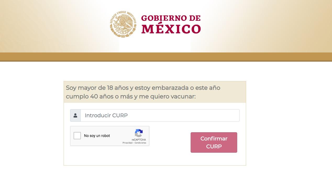 Registro para aplicación de vacunas contra el COVID-19. Captura de pantalla