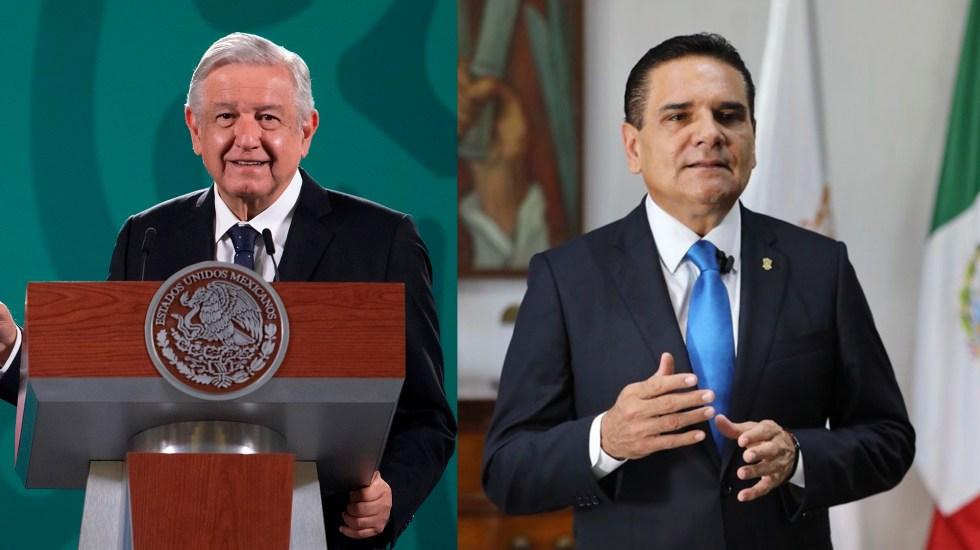 AMLO pide a Aureoles que pruebe operación del narco en favor de Morena - El presidente López Obrador y el gobernador Silvano Aureoles. Foto Especial.