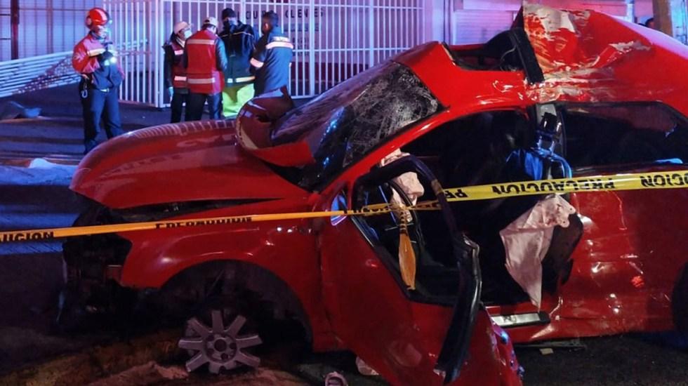Choque de Audi en Ecatepec deja cuatro muertos; conductor iba a exceso de velocidad - Audi destrozado tras choque en Ecatepec. Foto de Milenio