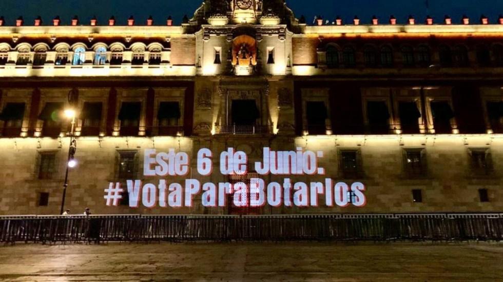 #VotaParaBotarlos Proyectan mensaje en Palacio Nacional de cara a elecciones - Palacio Nacional VotaParaBotarlos 6 junio