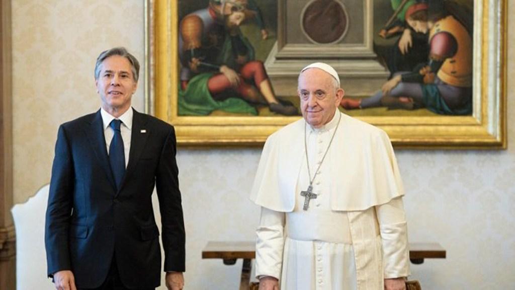 Papa Francisco recibe en el Vaticano al secretario de Estado de EE.UU. - Papa Francisco y Antony Blinken. Foto de Vatican News