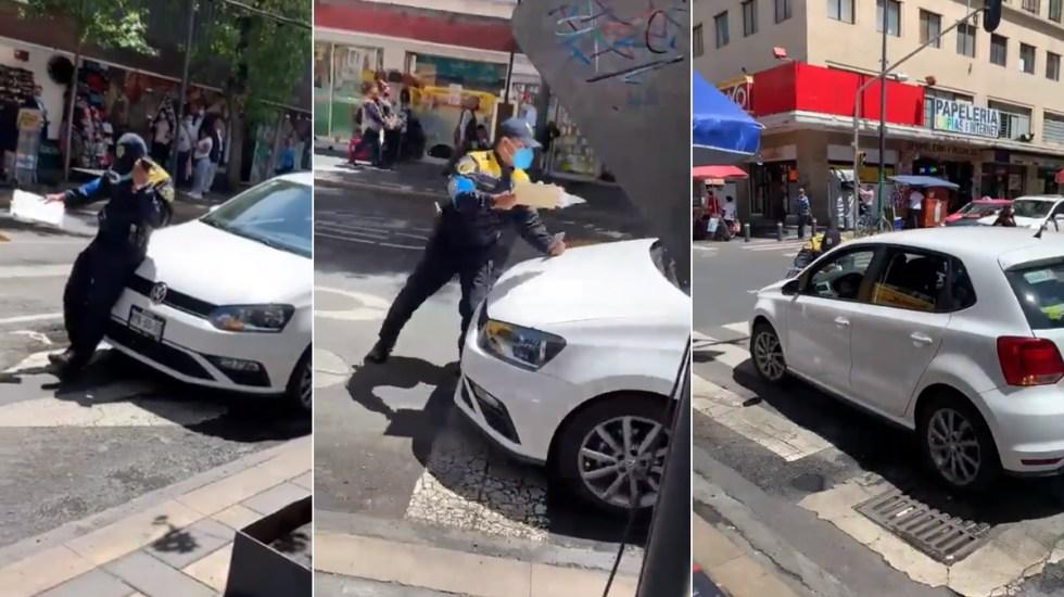 #Video Sujeto atropella a policía para evitar infracción - Policía Centro Ciudad de México atropellado