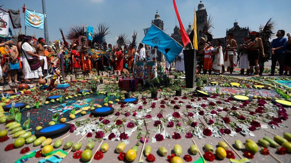 Celebran en el Zócalo fundación de México Tenochtitlán - 696 aniversario de la fundación de México Tenochtitlán en el Zócalo capitalino